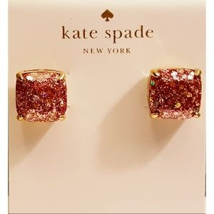 Kate Spade Square Glitter Stud in Dusty Rose